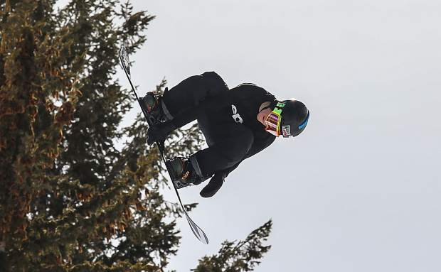 Red Gerard grabs off the hip hit during X Games Aspen slopestyle qualifiers last month.