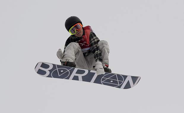 Redmond Gerard, of the United States, jumps during the men's big air snowboard competition at the 2018 Winter Olympics in Pyeongchang, South Korea, Saturday, Feb. 24, 2018.