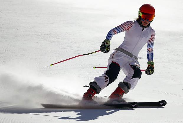 Mikaela Shiffrin of the United States skis during an inspection of the giant slalom course at the Yongpyong Alpine Center at the 2018 Winter Olympics in Pyeongchang, South Korea on Sunday, Feb. 11.