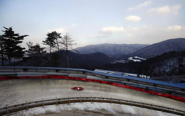 The Pyeongchang 2018 Olympic skeleton course is seen on Tuesday, Feb. 13.