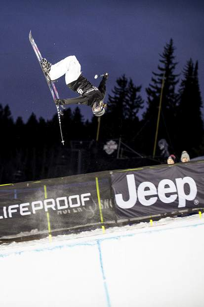 Canadian Cassie Sharpe competes in the women's ski superpipe final at the Winter X Games on Thursday, Jan. 25 in Aspen.
