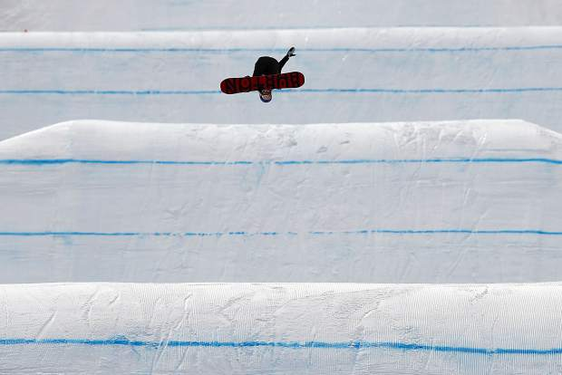 Anna Gasser of Austria catches air during practice for the women's slopestyle qualifications at Phoenix Snow Park at the 2018 Winter Olympics in Pyeongchang, South Korea on Sunday, Feb. 11.