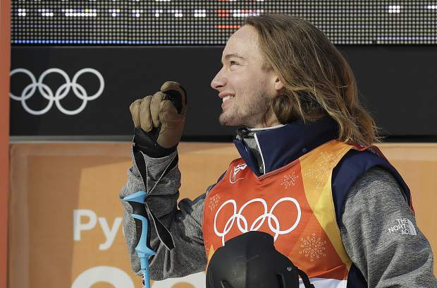 DavidWise, of the United States, reacts after his run during the men's halfpipe qualifying at Phoenix Snow Park at the 2018 Winter Olympics in Pyeongchang, South Korea, Tuesday, Feb. 20, 2018. (AP Photo/Kin Cheung)