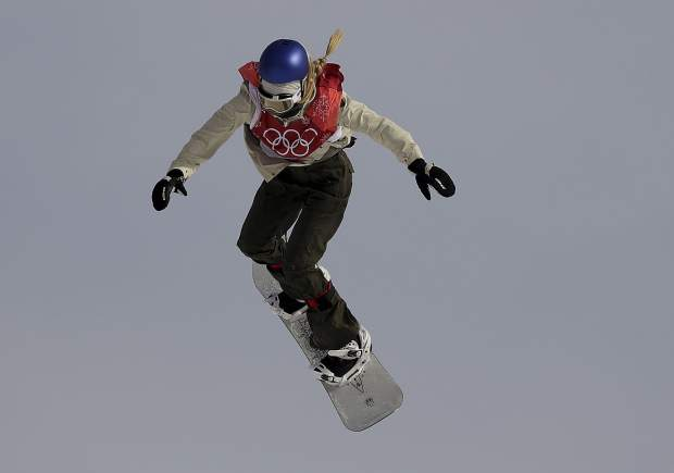 Anna Gasser, of Austria, jumps during qualification for the women's big air snowboard competition at the 2018 Winter Olympics in Pyeongchang, South Korea, Monday, Feb. 19, 2018. (AP Photo/Kirsty Wigglesworth)