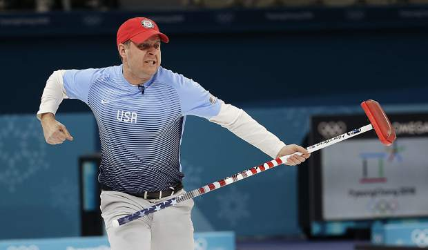 United States skip John Shuster reacts during the men's final curling match against Sweden at the 2018 Winter Olympics in Gangneung, South Korea on Saturday, Feb. 24, 2018.