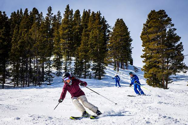 A participant skis at last year's Women's Ski Week at Breckenridge Ski Resort.