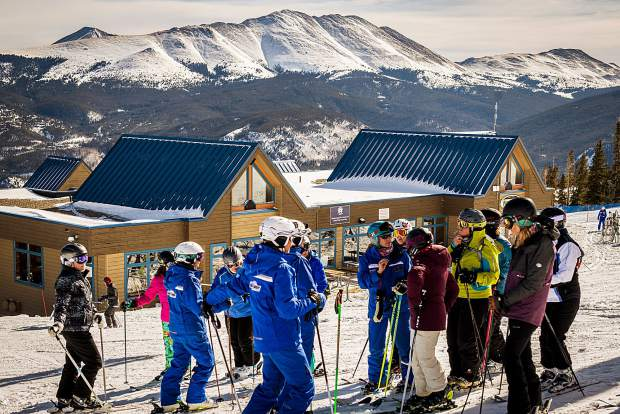 Participants listen to instructors on the hill during last year's Women's Ski Week at Breckenridge Ski Resort.