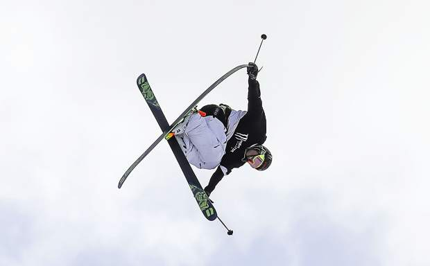 Henrik Harlaut competes in the qualifiers for the men's ski slopestyle during the Winter X Games on Friday, Jan. 26, 2018, in Aspen, Colo.