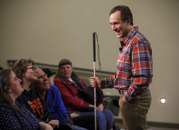 Blind adventurer Erik Weihenmayer smiles while speaking to the assembled crowd at his speech at Colorado Mountain College in Breckenridge on Wednesday, March 21.