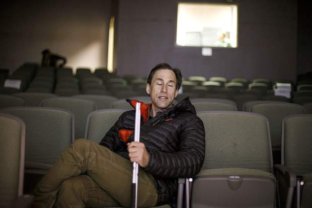 Blind adventurer Erik Weihenmayer sits in the auditorium before his speech at Colorado Mountain College in Breckenridge on Wednesday, March 21.
