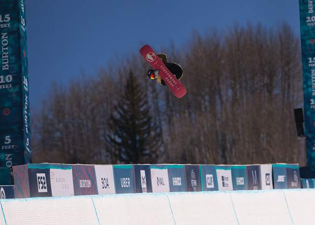 Fynn Bullock-Womble of Copper Mountain competes Tuesday morning in the Burton U.S. Open's Junior Jam halfpipe competition. Bullock-Womble was one of 16 boys 14-years-of-age or younger to compete in the annual international invitation-only event. He took fourth place and was the second-highest scoring American (81.12) in the competition.