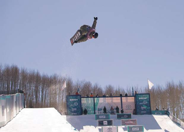 Hayden Tyler of Dillon competes Tuesday morning in the Burton U.S. Open's Junior Jam halfpipe competition. Bullock-Womble was one of 16 boys 14-years-of-age or younger to compete in the annual international invitation-only event. He took ninth place (60.12 points) in the competition.