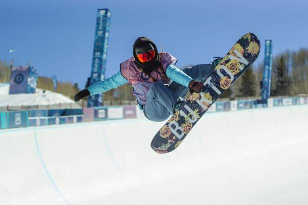 California snowboarder Tessa Maud, 14, performs an indy grab at the Burton U.S. Open Snowboarding Championships Junior Jam on Tuesday, on March 6, in Vail. Maud finished second.