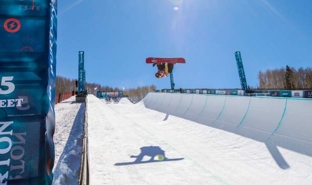 Ski & Snowboard Club Vail rider Fynn Bullock-Womble, 13, gets inverted during the Burton U.S. Open Snowboarding Championships Junior Jam on Tuesday, March 6, in Vail. Bullock-Womble finished fourth, second among Americans.
