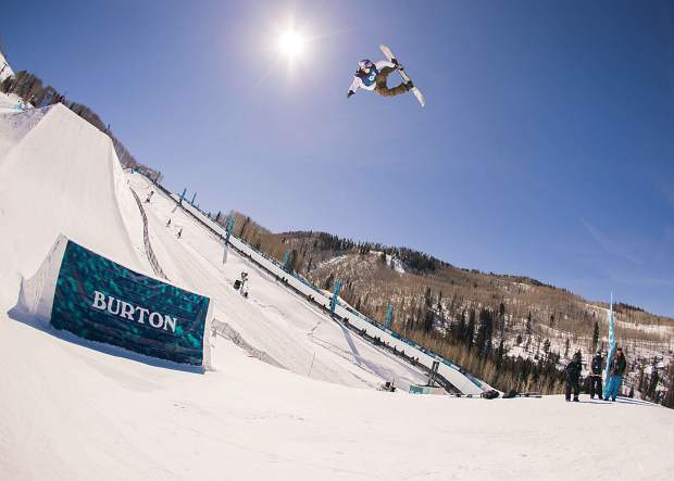 Marcus Kleveland of Norway soars through the air high above the Burton U.S. Open slopestyle course at Vail Mountain on Wednesday. The Norwegian Kleveland qualified in second place and is a favorite to win Friday's final a month-and-a-half after he won the X Games Aspen slopestyle competition.