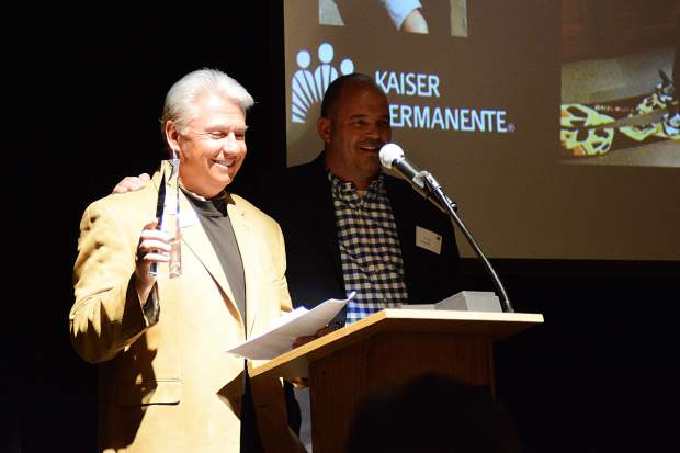 Doug Berg offers a few remarks after being presented the Ben Fogle Award on Wednesday during the Business Excellence Awards presented by the Summit Chamber of Commerce at the Silverthorne Pavilion.