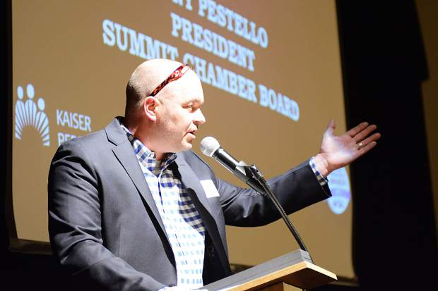 Tony Pestello, president of the Summit Chamber of Commerce Board, offers introductory remarks Wednesday during the Business Excellence Awards Wednesday night at the Silverthorne Pavilion.
