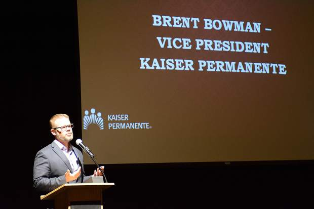 Brent Bowman, vice president at Kaiser Permanente, speaks during the Kaiser Permanente Business Excellence Awards ceremony Wednesday at the Silverthorne Pavilion.