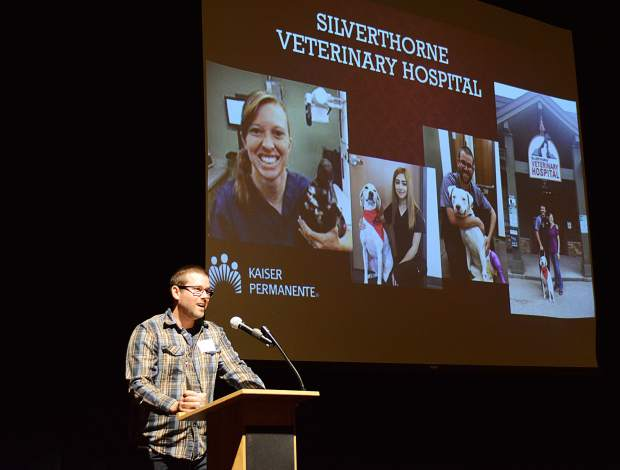 Dr. Justin Milizio of Silverthorne Veterinary Hospital accepts the Start-Up of the Year award Wednesday during the Business Excellence Awards ceremony Wednesday at the Silverthorne Pavilion.