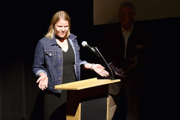 Blair McGary accepts the Marketing Champion Award for the town of Silverthorne on Wednesday at Silverthorne Pavilion during the Business Excellence Awards ceremony put on by the Summit Chamber of Commerce.