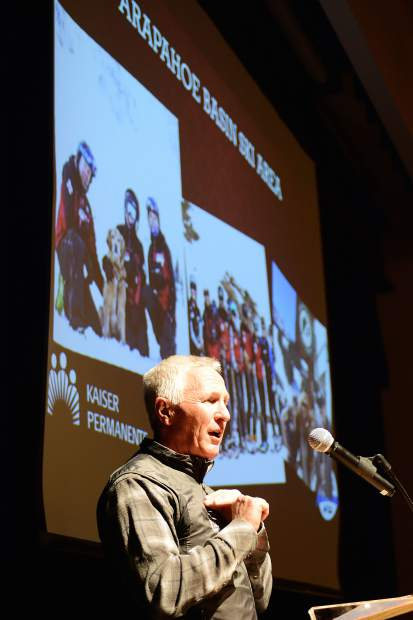 CEO of Arapahoe Basin Ski Area Alan Henceroth accepts the Business of the Year award for the large-business category on his company's behalf Wednesday at the Silverthorne Pavilion.