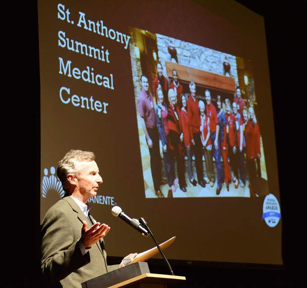St. Anthony Summit Medical Center's Paul Chodkowski offers remarks after accepting the Wellness Champion Award on the hospital's behalf Wednesday at the Silverthorne Pavilion.