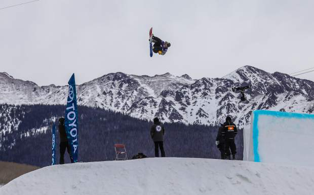 Chris Corning, of Silverthorne, throws a backside triple cork 1440 melon during his final run of the men's slopestyle finals for the Burton U.S. Open Snowboarding Championships on Friday, March 9, in Vail. Corning took second.