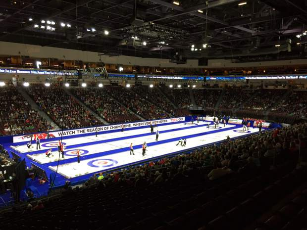 Fans -- the majority farmers and curling fans from westeren Canadian provinces -- pack the 9,500-seat Orleans Arena in Las Vegas, Nevada at a Continental Cup curling event. The Orleans Arena will for the first time host the World Men's Curling Championships, from March 31-April 8.