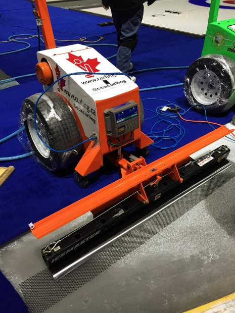 This special machine was used to shave extra ice off the top of the curling sheet surfaces at a Continental Cup curling event at the Orleans Arena in Las Vegas, Nevada. The arena will for the first time host the World Men's Curling Championships, from March 31-April 8.