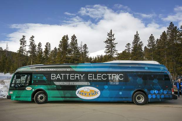 A demo Proterra electric bus before its first run of the Yellow Route on Thursday, March 22, in Breckenridge.