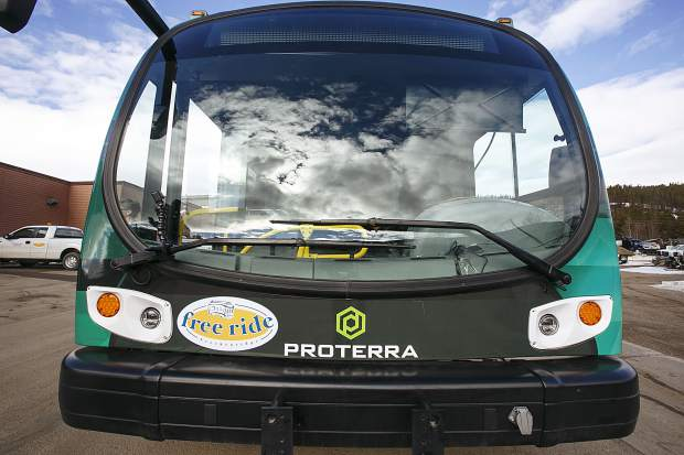 Front view of the Proterra electric bus Thursday, March 22, in Breckenridge. The Proterra's large windscreen offers greatly increased driver visibility.