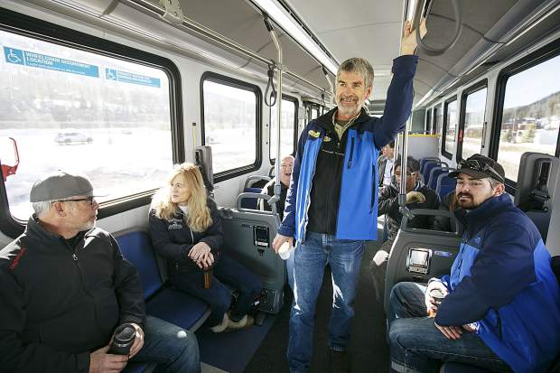 Breckenridge transit manager Fred Williamson and others test ride on the demo Proterra electric bus Thursday, March 22, in Breckenridge.