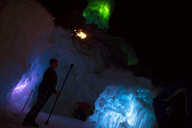 A flame released in the air by Kevin Schaeffer in the Ice Castles Friday, March 9, in Dillon.
