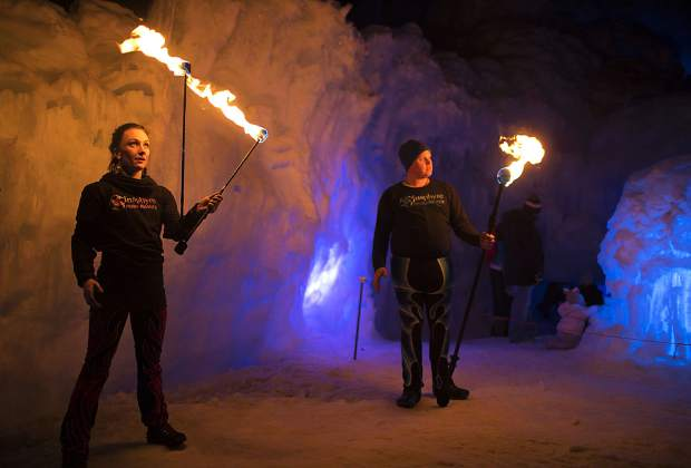 Insphyre Performance's Sara Schaeffer and Kevin Schaeffer perform in the Ice Castles Friday, March 9, in Dillon.