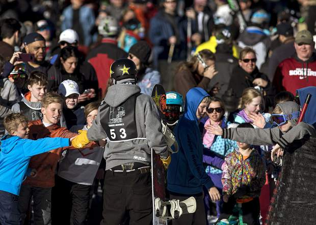 Silverthorne resident Chris Corning greets fans during the Hella Big Air competition Saturday, March 3, at Copper Mountain. Corning won the competition, his first contest since the Pyeongchang Olympics.