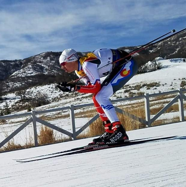 Summit Nordic Ski Club athlete Sam Haynes competes in the boy's under-16 classic race at the U.S. Ski and Snowboard cross country junior national championships in Soldier Hollow, Utah.