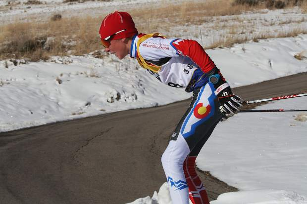 Summit Nordic Ski Club athlete Lasse Konecny competes in the boy's under-16 classic race at the U.S. Ski and Snowboard cross country junior national championships in Soldier Hollow, Utah.