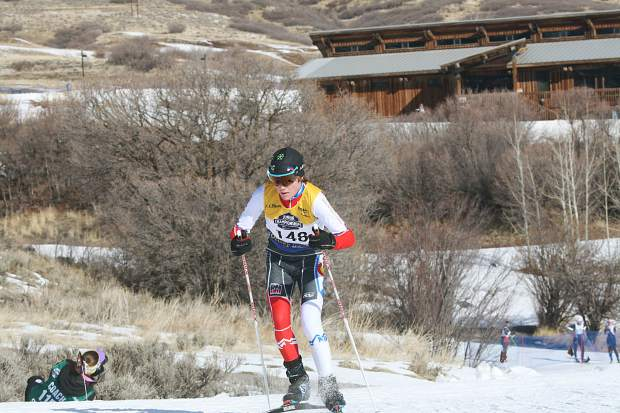 Summit Nordic Ski Club athlete Quinn Weinberger competes in the boy's under-16 skate race at the U.S. Ski and Snowboard cross country junior national championships in Soldier Hollow, Utah.