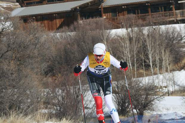 Summit Nordic Ski Club athlete Sam Haynes competes in the boy's under-16 skate race at the U.S. Ski and Snowboard cross country junior national championships in Soldier Hollow, Utah.