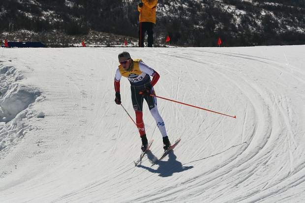 Peter Haynes of the Summit Nordic Ski Club competes at the U.S. Ski and Snowboard cross country junior national championships in Soldier Hollow, Utah.
