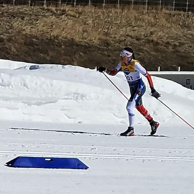 Summit Nordic Ski Club athlete Noelle Resignolo competes in the girls under-18 classic race at the U.S. Ski and Snowboard cross country junior national championships in Soldier Hollow, Utah.