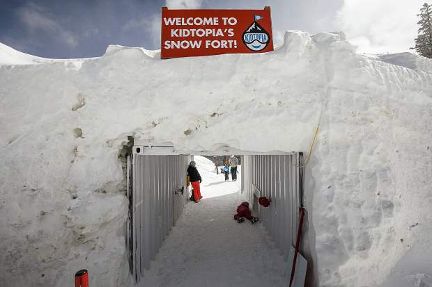 Kidtopia's Snow Fort entrance on Dercum Mountain of Keystone Friday, March 16.