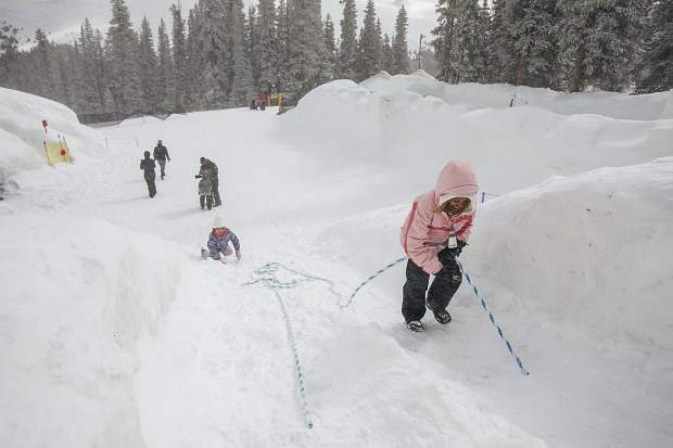 Visitors explore the Kidtopia's Snow Fort at Keystone Resort Friday, March 16.