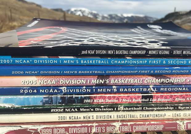 My collection of event programs from childhood NCAA Tournaments made the 2,000-plus mile trip to my new home out here in Heeney.