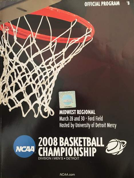 My event program from the 2008 NCAA Tournament Midwest Regional in Detroit, the year my father, cousin Jay and I got to see a young Steph Curry nearly shock the world and defeat eventual national champion Kansas for a spot in the Final Four.