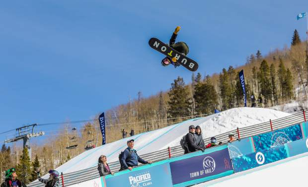 Ayumu Hirano of Japan gets big amplitude in the Burton U.S. Open Snowboarding Championships halfpipe semifinals on Thursday, March 8, in Vail. Hirano took first and will advance to the finals, which are scheduled for 2 p.m. on Saturday, March 10.