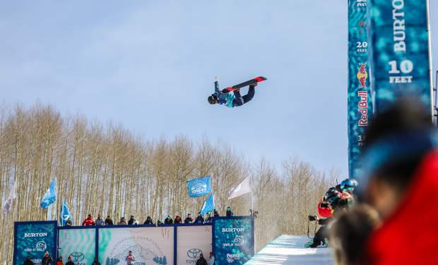 Minturn's Rakai Tait goes for a huge method grab during the halfpipe semifinals on Thursday, March 8, in Vail.