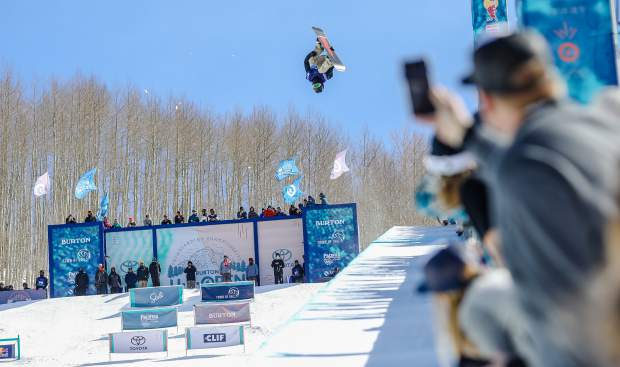 Ryan Wachendorfer of Edwards throws a Fronside Double Cork 1080 Melon during the Men's Halfpipe Semi-Finals for the Burton U.S. Open Snowboarding Championships on Thursday, March 8, in Vail.