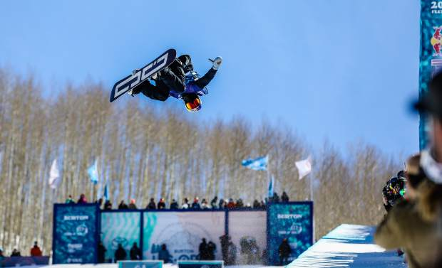 Toby Miller competes in the halfpipe semifinals during the Burton U.S. Open Snowboarding Championships on Thursday, March 8, in Vail. Miller was the only athlete to attempt a doublecork 1440 in the competition, he failed to land the difficult trick and placed 19th.