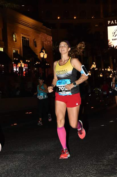 Stacy McCallister runs during her most recent marathon, the Rock 'n Roll Las Vegas, in November 2017.